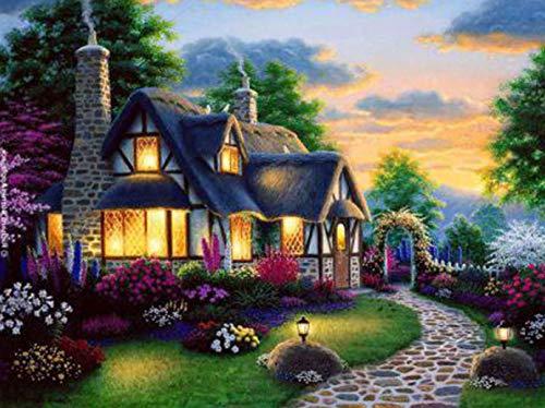LXBZSH Gartenhaus Mit Blick Auf Die Nacht DIY Leinwand Malerei Digitale Malerei Set Erwachsene Kinder Anfänger Heimdekoration Acrylfarbe 16X20 Zoll (Rahmenlos)