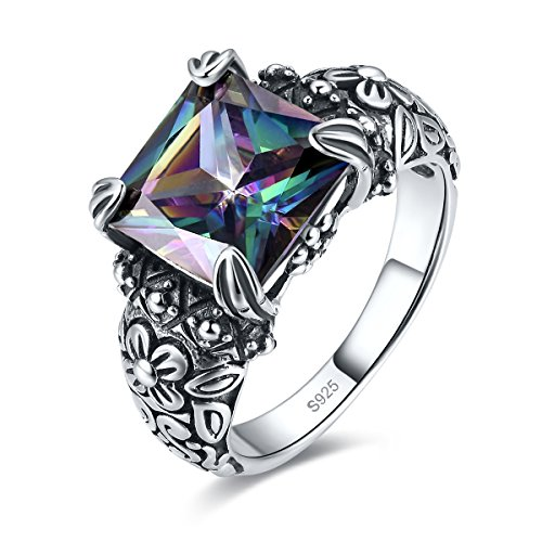 Merthus Antique 925 Sterling Silver Floral Band Created Mystic Rainbow Topaz Gemstone Ring for Women Size 6