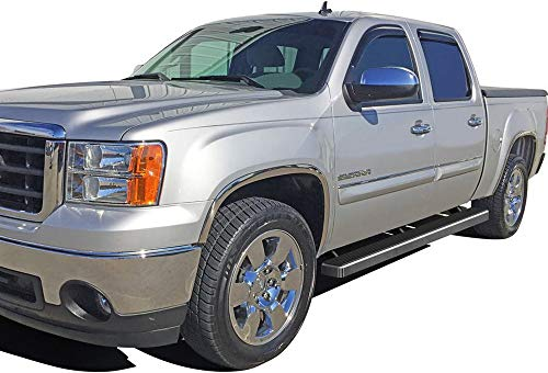APS iBoard (Silver 4 inches) Running Boards Nerf Bars Side Steps Step Rails Compatible with 2001-2013 Chevy Silverado GMC Sierra 1500 Crew Cab & 2001-2014 2500 3500 (Exclude CK Classic)