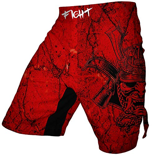 Men's Bermuda MMA Shorts Muay Thai Boxing Trunks Digital Printing Colorful Kickboxing Fight Wear (Red, Large)