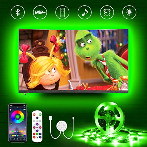 Hamlite USB Bluetooth LED Strip,4.5m LED TV Hintergrundbeleuchtung für 60-65 Zoll Fernseher, Farbwechsel Sync mit Musik,Bias Lighting RGB LED Streifen,App Steuerung,für TV/PC Monitor/Spielzimmer