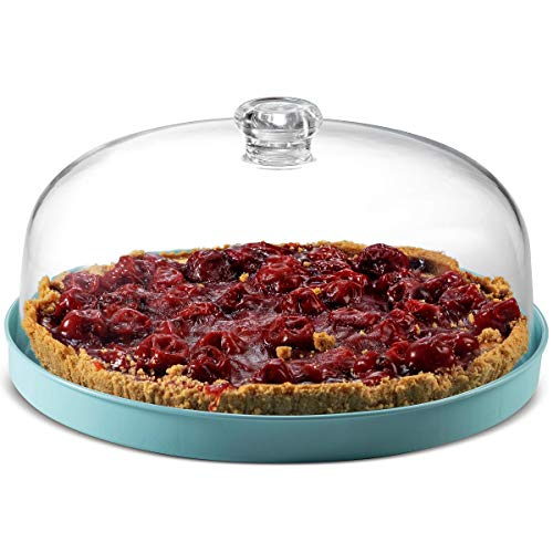Godinger Cake Stand, Cake Plate Server with Dome, Fruit Platter, Metal Serving Tray and Shaterproof Acrylic Lid
