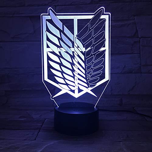 Lampara LED Manga Anime Attack on Titan Survey Cops Cambia Color USB Luz nocturna y decoración