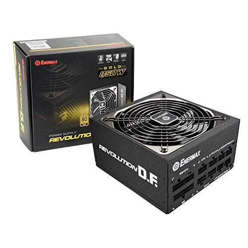Enermax Revolution DF 850W - 80 PLUS Gold Certified PSU, Full-Modular Power Supply, 135mm Silent Fan, Black Flat Cable, ATX Compact 160mm Size, 7 Year Warranty