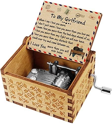 Star Heaven Cajas de música de madera grabadas, manivela de mano, caja musical de madera clásica, cajas de música de madera personalizadas, para cumpleaños, Navidad, día de San Valentín (a novia)
