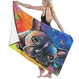 SUDISSKM Toalla de Playa de Playa de Microfibra Grande,Pintura de Bulldog Francés Retrato de Mascota Pintura de Mascota Personalizada Salpicadura Impresionista Colorido