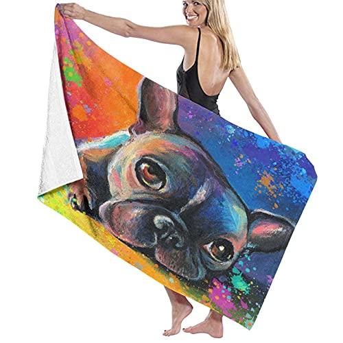 KENADVI Beach Bath Towel,French Bulldog Painting Pet Portrait Custom Pet Painting Splatter Impressionistic Colorful,Lightweight Beach Blanket Absorbent Quick Dry Cool Pool Beach Swim Towels