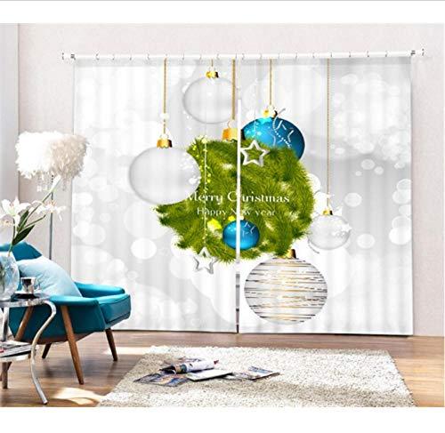 yangwuju Cortinas de Opacas Ventana Blackout 3D para Sala de Estar Dormitorio de Oficina Navidad-W117X138cmX2 Pcs