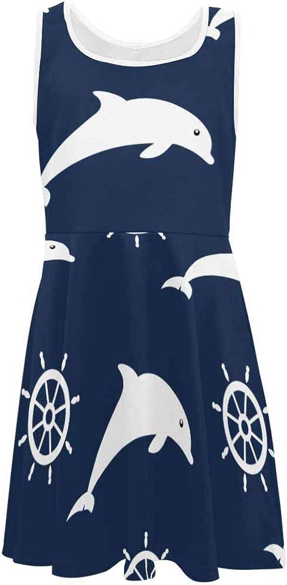 InterestPrint Girls Sleeveless Dresss Crew Neck Casual Sundress Set of Antler and Horns (2T-XL)