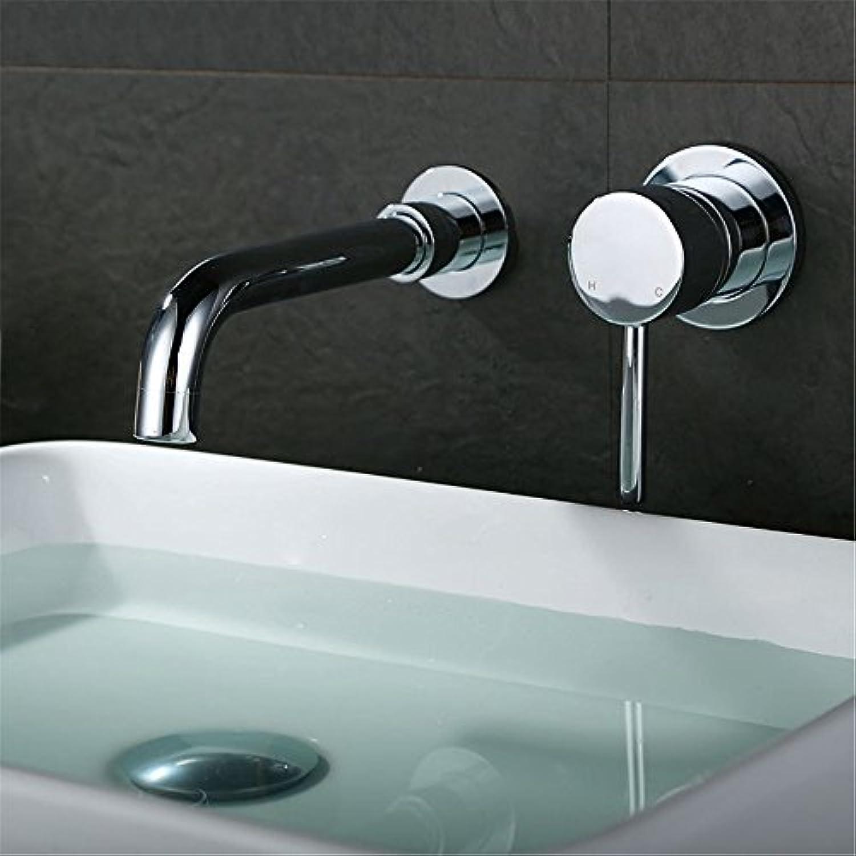 Bijjaladeva Wasserhahn Bad Wasserfall Mischbatterie WaschbeckenDas Dunkle in der Wand,heies und Kaltes Wasser im Badezimmer Waschbecken Schminkbereich mit Waschbecken Schwarz Hah