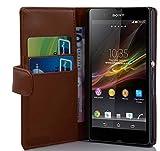 Cadorabo Coque pour Sony Xperia Z (1. Gen.) en Noisette Marron - Housse Protection en Similicuir...