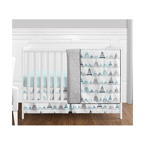 4 pc. Navy Blue, Aqua and Grey Aztec Mountains Baby Boy or Girl Unisex Crib Bedding Set by Sweet Jojo Designs