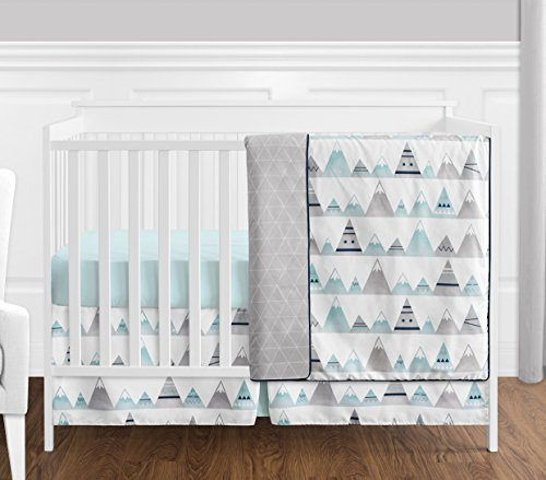 4 pc. Navy Blue, Aqua and Grey Aztec Mountains Baby Boy or Girl Unisex Crib Bedding Set by Sweet Jojo Designs