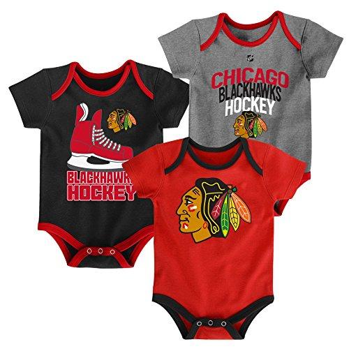 Chicago Blackhawks NHL Hat Trick Infant Creeper, 3 Pack 24 M