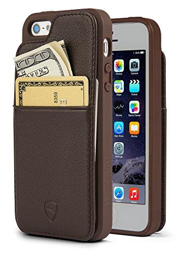 Vaultskin Eton Armour - Funda de Cuero para iPhone SE y 5s (Marrón)