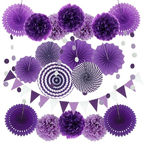 Zerodeco Party Decoration, 21 Pcs Purple and Lavender Hanging Paper Fans, Pom Poms Flowers, Garlands String Polka Dot and Triangle Bunting Flag for Birthday Party, Baby Showers, Wedding, Mermaid Party