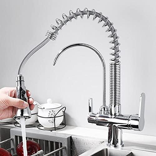 Grifo De Cocina 3 Vias Para Osmosis 3 Y 1 Grifo Cocina Extraible 360 ° Giratorio Agua Potable Caliente Y Fría Griferia Cocina