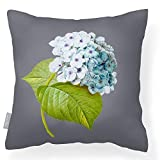 Izabela Peters Outdoor Garden Cushion Waterproof - Grey - Vintage Hydrangea - Breathable Fabric - Lakeland Collection - Designed, Printed & Handmade In The UK