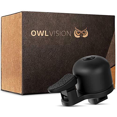 OWL VISION - Hochwertige Fahrradklingel Perfom [universal passend] Fahrrad Klingel Retro sehr klarer Klang - Premium Fahrradglocke für Mountainbike Rennrad - MTB & Fahrrad Zubehör - Klingel Glocke Ring (schwarz)