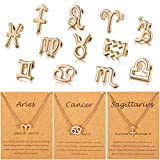 96 Pieces Zodiac Theme Charm Set Includes 48 Pieces Zodiac Theme Sign Letter Word Pendant and 48 Pieces Zodiac Charm Necklace Display Cards for Jewelry, Necklace, Bracelet Making (Gold)