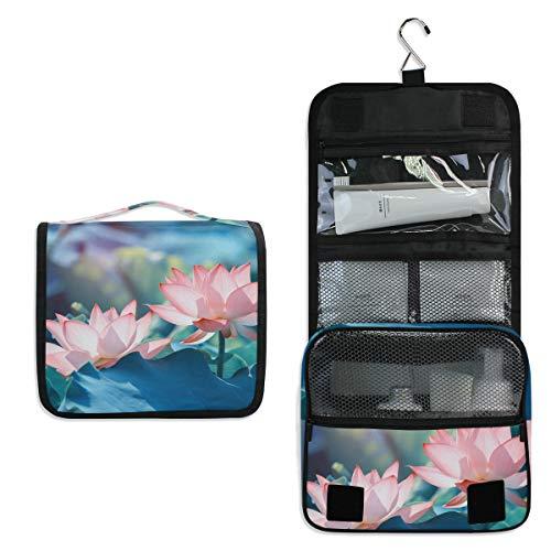 Mr.XZY Bolsa de maquillaje con estampado de flores de loto para cosméticos y cosméticos con bonito patrón multifunción portátil de tren con cremallera bolsa de aseo para mujeres y niñas 2011497