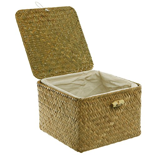 Brown Hand Woven Rattan Home Storage Basket/Decorative Box with Lid & Removable Fabric Lined Interior