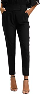 Women's Casual Work Cropped Pant Pocket High Waist Button Trouser