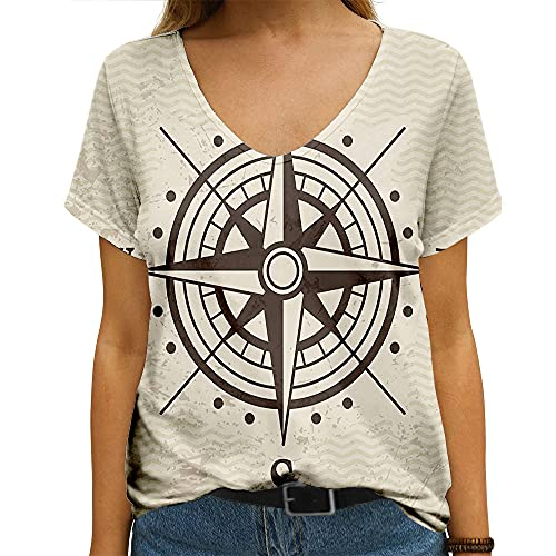Women's Tee Wind Direction Rose Travel Geography East Map Signs Symbols Meridian Treasure Vintage Round Arrow Top T-Shirt