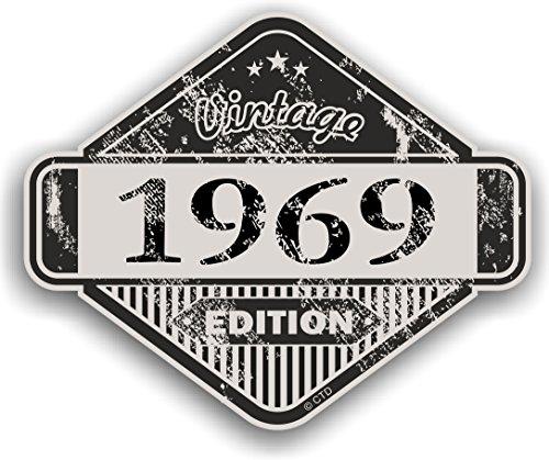 Distressed envejecido Vintage 1969Edition Classic Retro vinilo coche moto Cafe Racer Casco Adhesivo Insignia 85x 70mm
