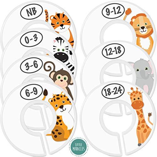 Baby Closet Size Dividers - 7X Safari Nursery Closet Dividers for Baby Clothes - Elephant Giraffe Zebra Lion Monkey Cheetah Nursery Decor - Baby Closet Dividers for Boy or Girl - [Safari] [White]