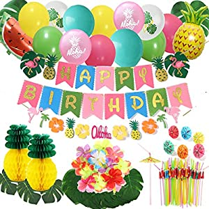Hawaii Luau Party Decoration,Tropical Hawaii Birthday Party Supplies Include Bday Banner,Artificial Tropical Palm Leaves,Hibiscus Flowers,Honeycomb Pineapples,Summer Balloons,Umbrella Straws