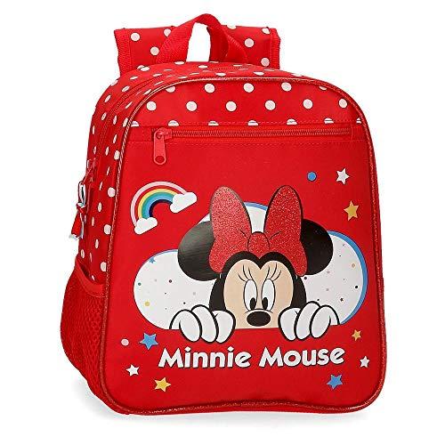 Disney Mochila Preescolar Minnie Rainbow, Rojo, 23x28x10 cms