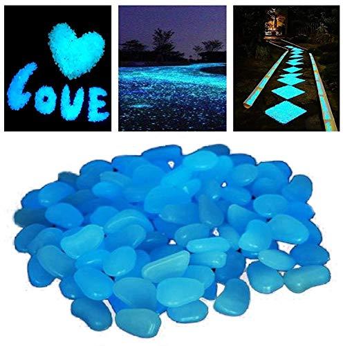 StillCool Leuchtsteine 100er Bunt Leuchtender Floureszierende Pebble Steine für Aquarium Garten Flur Kinderzimmer Dekoration (Dunkelblau)