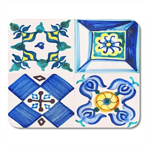 Alfombrillas para ratón español portugués detalle de los azulejos tradicionales de la fachada old house valenciana floral oriental alfombrilla para portátiles, Computadoras de escritorio alfombrillas