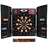 Ultrasport Electronic Dart Target with and without Doors, 16 Player Dartboard, Included Starting Line, 12 Soft Darts and 100 Soft Tip, LED Display