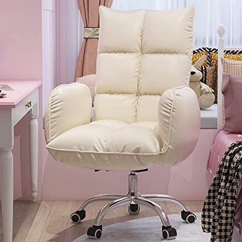 Sedia da ufficio Sedia da ufficio Bianco PU Sedia da ufficio in pelle in casa, reclinabile regolabile ergonomico con braccio, rotazione a 360 ° Base in metallo ricco di resistenti ricchi di rotazione