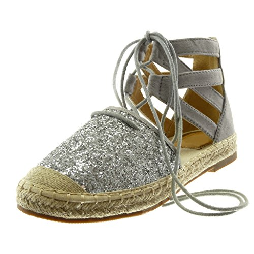 Angkorly - dames schoenen sandalen espadrilles - hoge - enkelriem - glitter - gekruiste riem - touw blokhak 2 cm