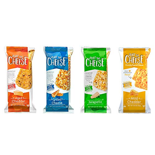 Just the Cheese Bars 12-pack, Crunchy Baked Low Carb Snack Bars. 100% Natural Cheese. High Protein and Gluten Free (Grilled Cheese)