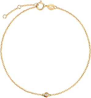 18K Solid Gold Solitaire Genuine Bezel Set Small Tiny Round 0.015ct Diamond Dainty Bracelet Minimalist Delicate Fine Jewelry For Women Girls