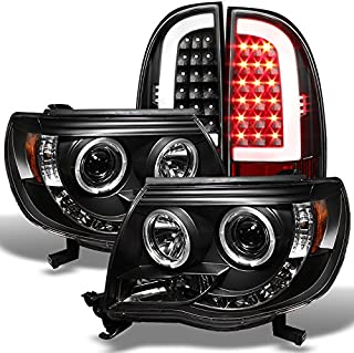 For 2005-2011 Toyota Tacoma Runner Black LED Halo Projector Headlights+ Black LED Tube Tail Lights Lamps