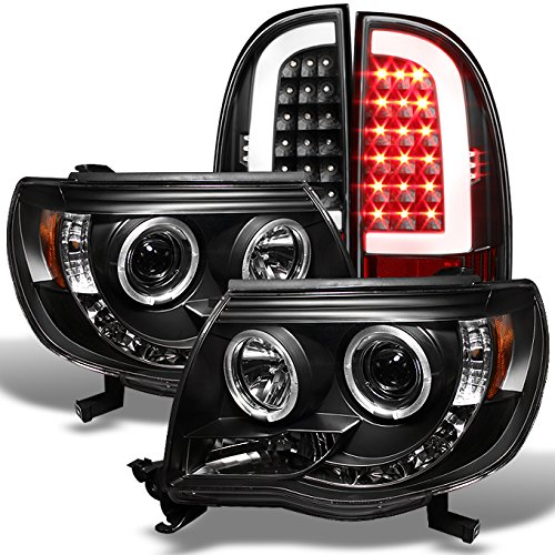 For 2005-2011 Toyota Tacoma Runner Black LED Halo Projector Headlights+ Black LED Tube Tail