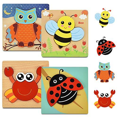 BUZIFU Puzzles de Madera de Animales Educativos Cangrejo Mariquita Abeja Búho, 4 unids Puzzles de Madera Encajables con Piezas Grandes, Rompecabezas de Madera de Colores, para Niños Peques 1 a 4 Años