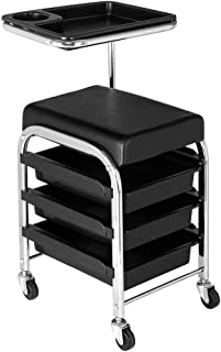 TryMe Mobile Salon Rolling Trolley Chair,Nail Pedicure Beauty Storage Stool Black