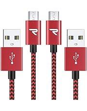 Micro USBケーブル 生涯保証 2.4A急速充電 5000+回曲折テスト 赤