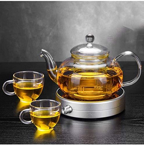 HLL Hervidor de té para el hogar, juego de aislamiento de flores Vidrio resistente al calor con filtro Termostato Posavasos de calentamiento del tesoro, Taza de té Resistente al calor Viejo, Nuestras