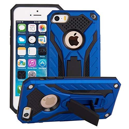 Compatible con iPhone SE / 5S / 5, a prueba de golpes de doble capa 2 en 1 Armor PC + TPU Funda protectora rígida con soporte Funda antideslizante (Color: Azul)