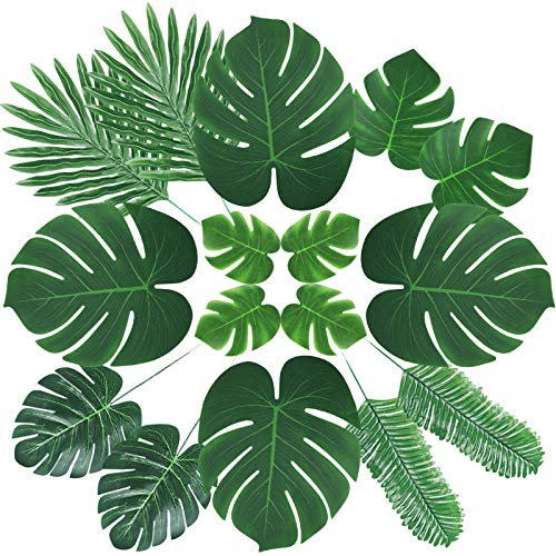 ElaDeco 66 Pcs Artificial Palm Leaves Tropical Faux Leaves with Stems for Jungle Party Safari Decorations Supplies Hawaiian Luau Beach Theme Birthday Party (6 Kinds)