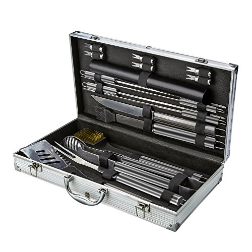 BOBLOV Alluminio Set da Barbecue in Acciaio INOX Attrezzi Barbecue Professionali, 16 Pezzi 2 Tappetini per Cottura in Teflon per il Grill- Perfetto per la Cottura a Gas, Carbone, Forno e Griglie Elett