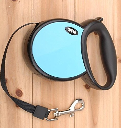 Hundeleine Roll-Leine automatisch versenkbar 5m für große Hunde bis 50kg mit Zugstopp und Karabiner, ausziehbar, blau / schwarz Größe L
