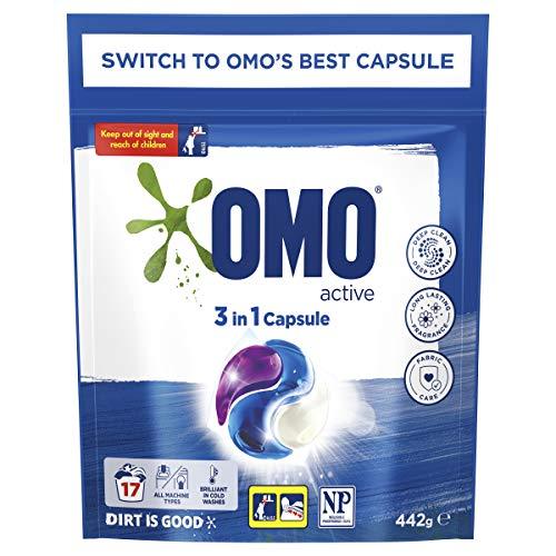 Omo Laundry Liquid Triple Capsules, 3 in 1 Capsule, Active 17 Pack